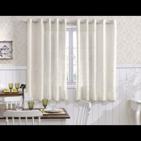 Cortina para Cozinha Bordada 300x120 Cm Branco