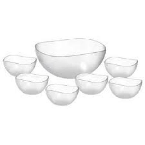 Jogo De Bowls E Tigela Para Sobremesa De Vidro Com 7 Peças