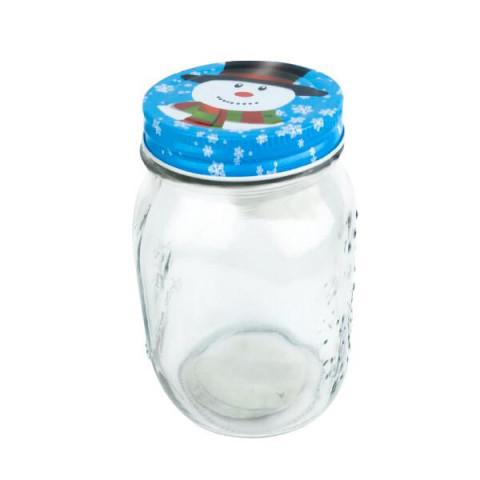 Pote de Vidro Natal 550 ml Azul