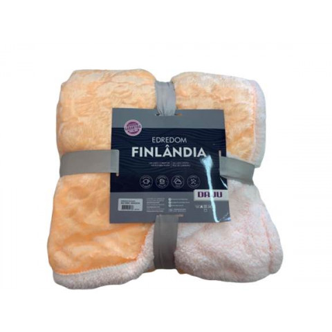 Edredom  Solteiro Pele Carneiro Finlandia Laranja