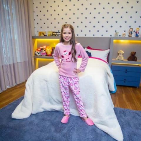 Pijama Flanel Bordado Kids Daju Corujita 5 a 6 Anos