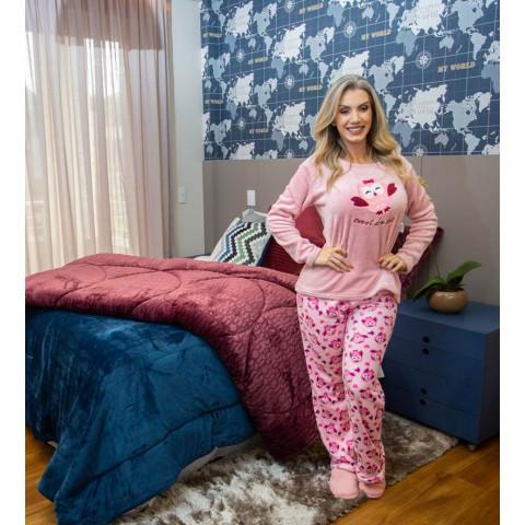 Pijama Feminino Adulto Bordado Corujita GG