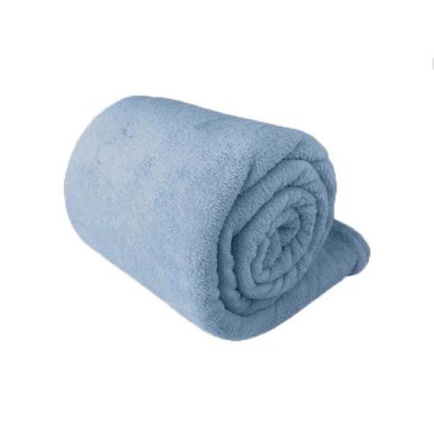 Manta King Microfibra Plush Daisa Azul Claro .