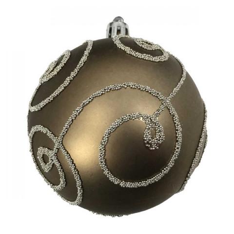 Bola Arabesco Natal 8 Cm Ouro velho
