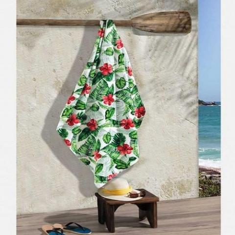 Toalha De Praia Velour Estamp 130x70cm  Ferns/Hibiscus .