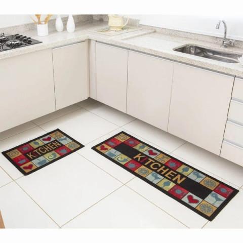 Jogo De Tapetes Para Cozinha Bistrô- Kitchen- 2 Peças