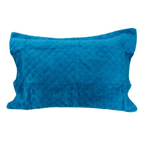 Porta Travesseiro Daisa Plush Matelado Com Aba 50x70 Cm Turquesa
