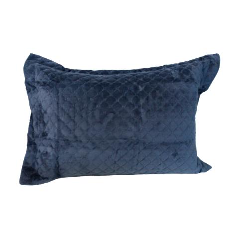 Porta Travesseiro Daisa Plush Matelado Com Aba Azul Petróleo