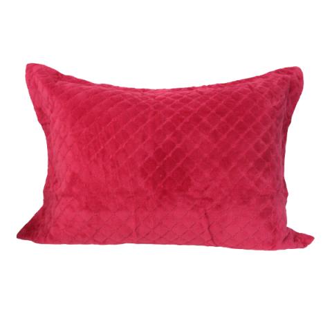 Porta Travesseiro Daisa Plush Matelado Com Aba 50x70 Cm Cereja