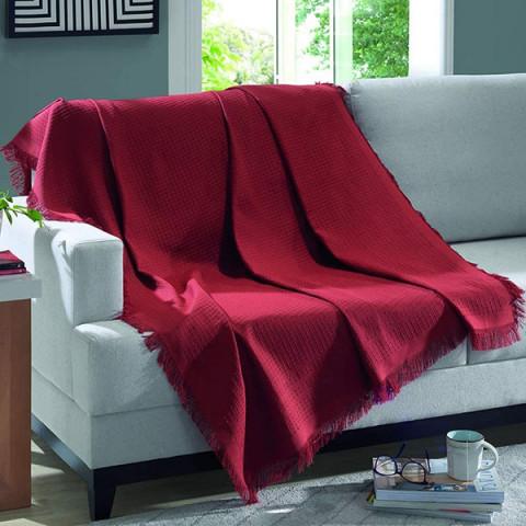 Manta para Sofá Dohler Marrocos 150x120 Cm Vermelho