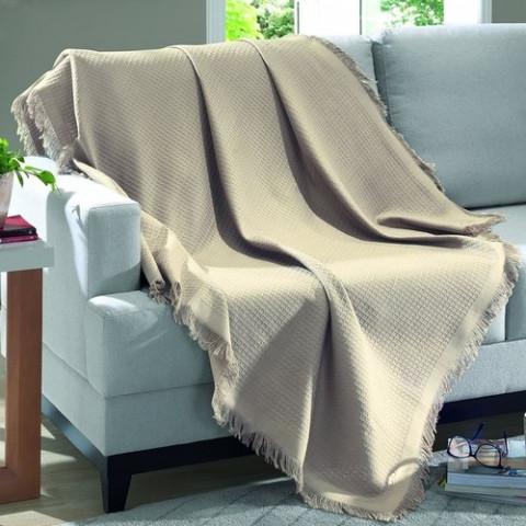 Manta Para Sofá Marrocos 150x120 Cm Bege