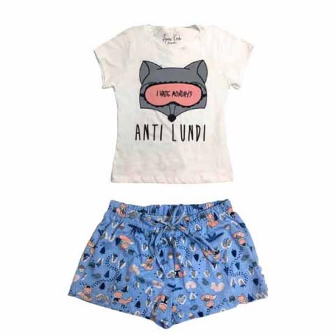 Pijama Infantil Feminino Manga Curta 8 Anos
