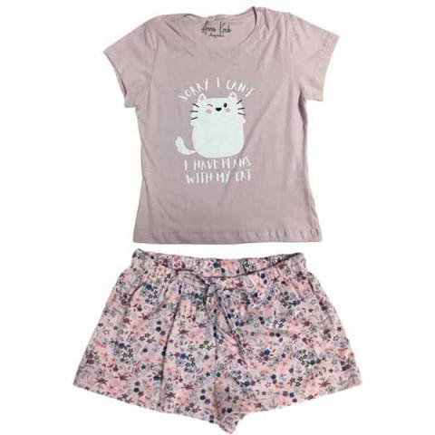 Pijama Infantil Feminino Manga Curta 10 Anos
