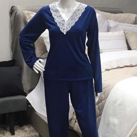 Pijama Feminino Manga Longa Decote V e Renda P Azul Marinho