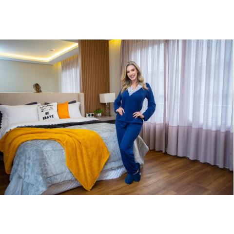 Pijama Manga Longa Decote V E Renda Azul