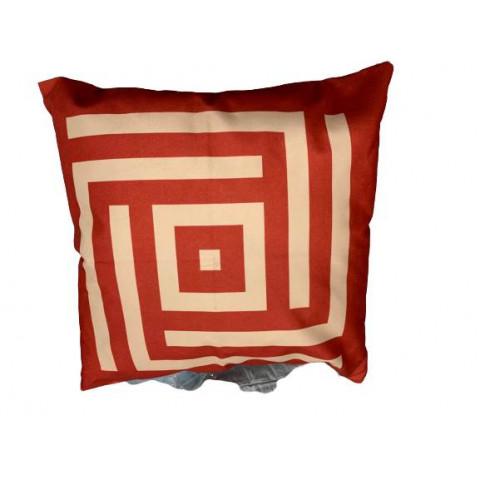 Almofada Cheia Velveteen Vermelha Geometrica