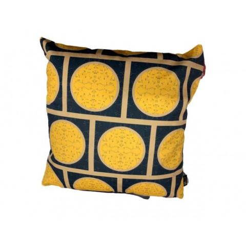 Almofada Velveteen Amarela Geometrica