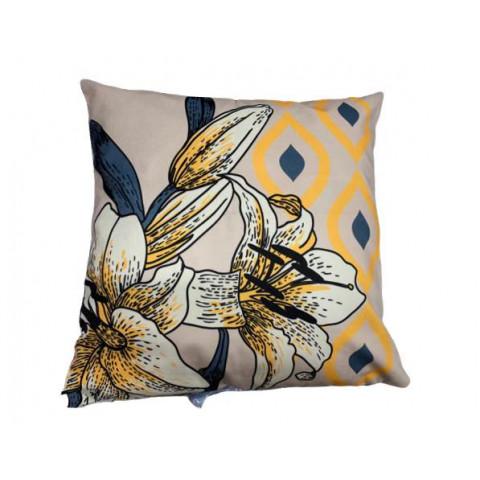 Almofada Velveteen Amarela Floral