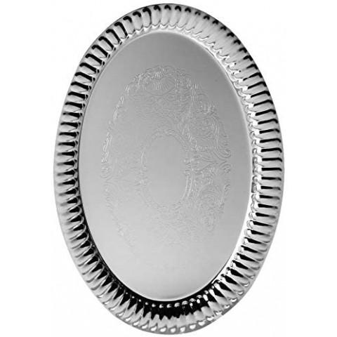 Bandeja de Zamac Silver Plated Medina Prateado 25,5x18 Cm
