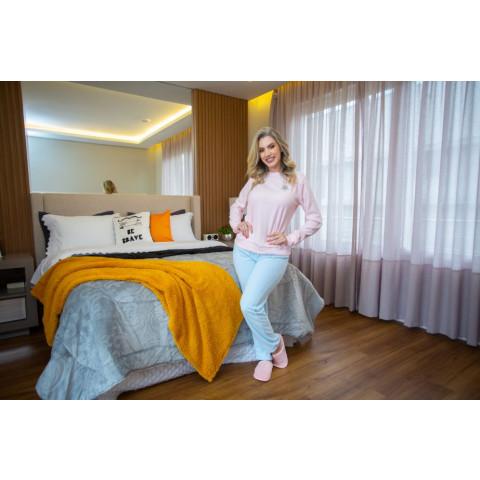 Pijama Soft Rosa Palido/Azul Lavado