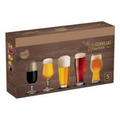 Jogo De Copos De Vidro Para Cervejas Especiais Com 5 Peças