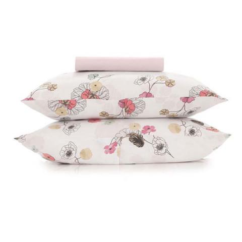 Jogo de Cama Queen Malha In Cotton 3 Peças Flowers