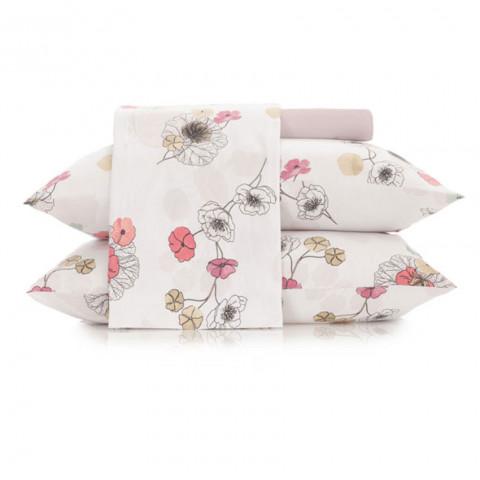 Jogo de Cama Casal Malha In Cotton 4 Peças Flowers