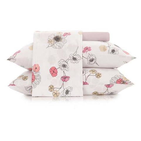 Jogo de Cama Queen Malha In Cotton 4 Peças Flowers