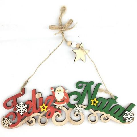 Enfeite Placa Feliz Natal 24X8 Cm