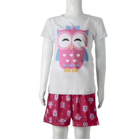 Pijama Infantil Feminino Manga Curta Coruja 8 Anos Branco