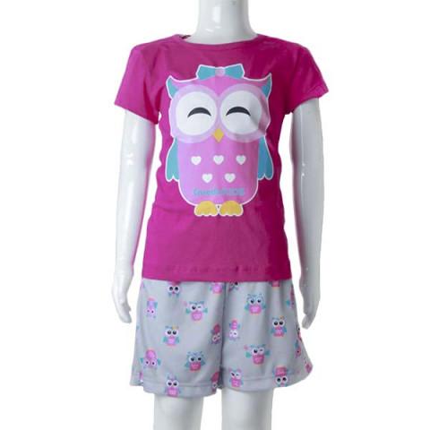 Pijama Infantil Feminino Manga Curta Coruja 8 Anos Pink