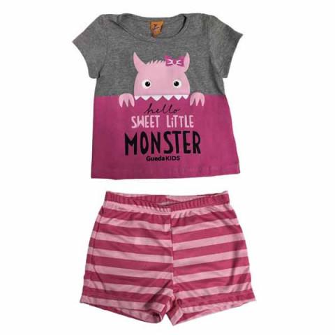 Pijama Infantil Feminino Manga Curta Monster  4 Anos Mescla