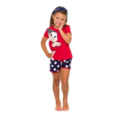 Pijama Infantil Feminino Manga Curta Mônica 4