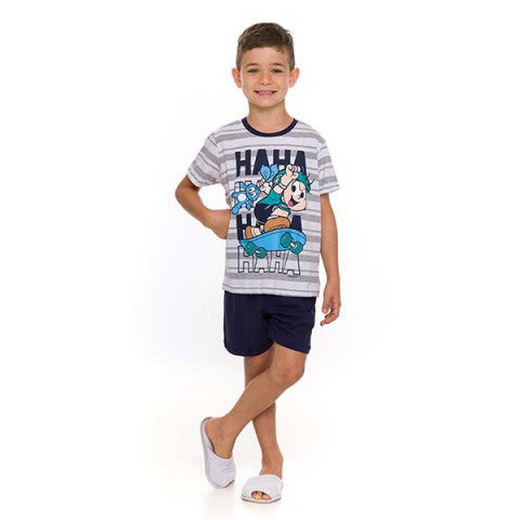 Pijama Infantil Masculino Manga Curta Cebolinha 4