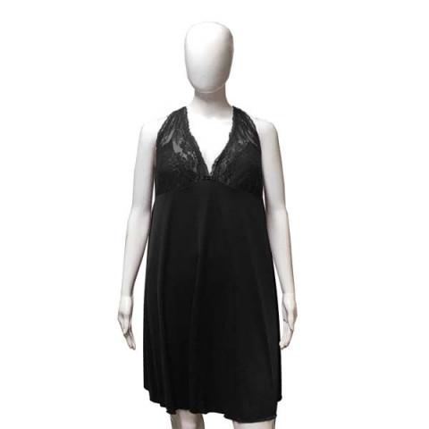 Camisola de Renda Plus Size 48 Preto