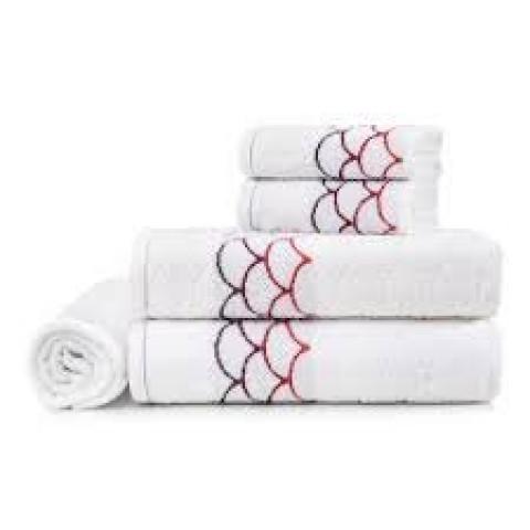 Toalha de Banho Muriel 70x135 Cm  Branco/Vermelho