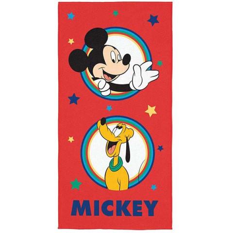 Toalha de Praia Aveludada Mickey 70x140 Cm Vermelho