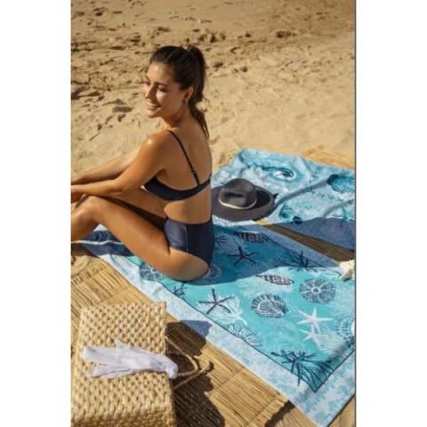 Toalha de Praia Aveludada Oceano 70x140 Cm Azul
