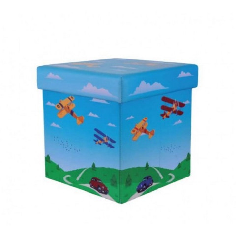 Mini Puff Box Aviões Azul