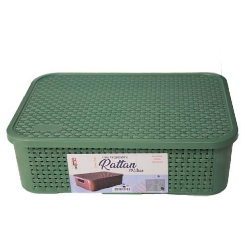 Caixa Organizadora Rattan 10 Lt Verde