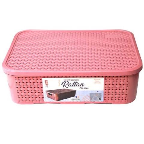 Caixa Organizadora Rattan 10 Lt Rosa