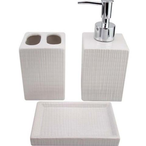 Jogo de Banheiro Cerâmica 3 Peças Branco