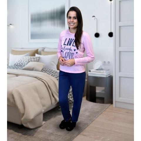Pijama Feminino Manga Longa M Rosa e Azul