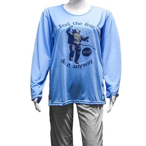 Pijama Masculino Manga Longa P Azul e Cinza