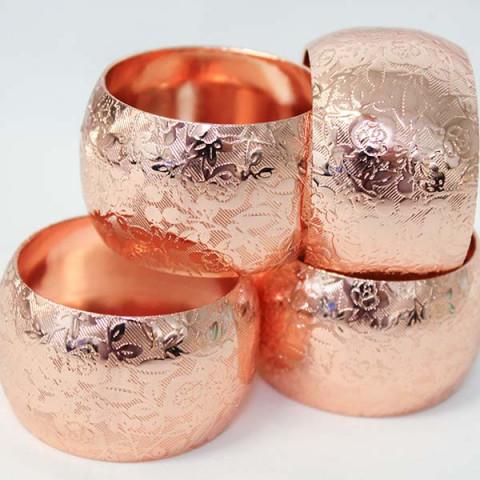 Anéis Para Guardanapo Aço Flowers 4 Peças Cobre
