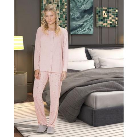 Pijama Feminino Adulto Botão M Mescla Rose