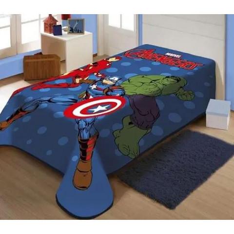 Cobertor Solteiro Raschel Plus Avengers em Ação