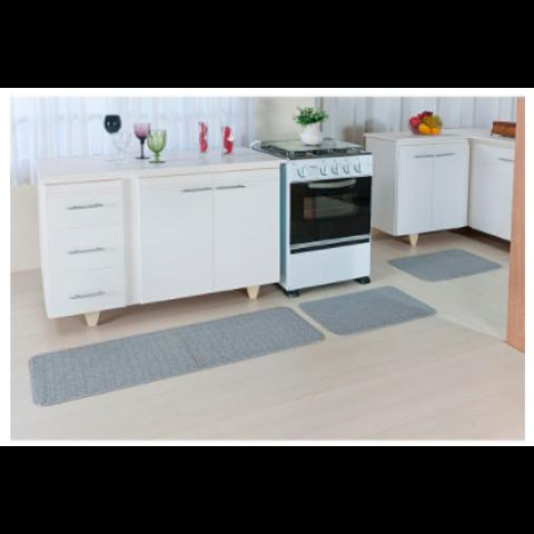 Kit Tapetes de Cozinha Oasis Antiderrapante 3 Peças Prata