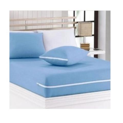 Capa de Colchão Solteiro Sonhos Cardada com Zíper Azul