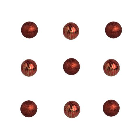 Jogo De Bolas Natal Purpurina 4 Cm 9 Peças